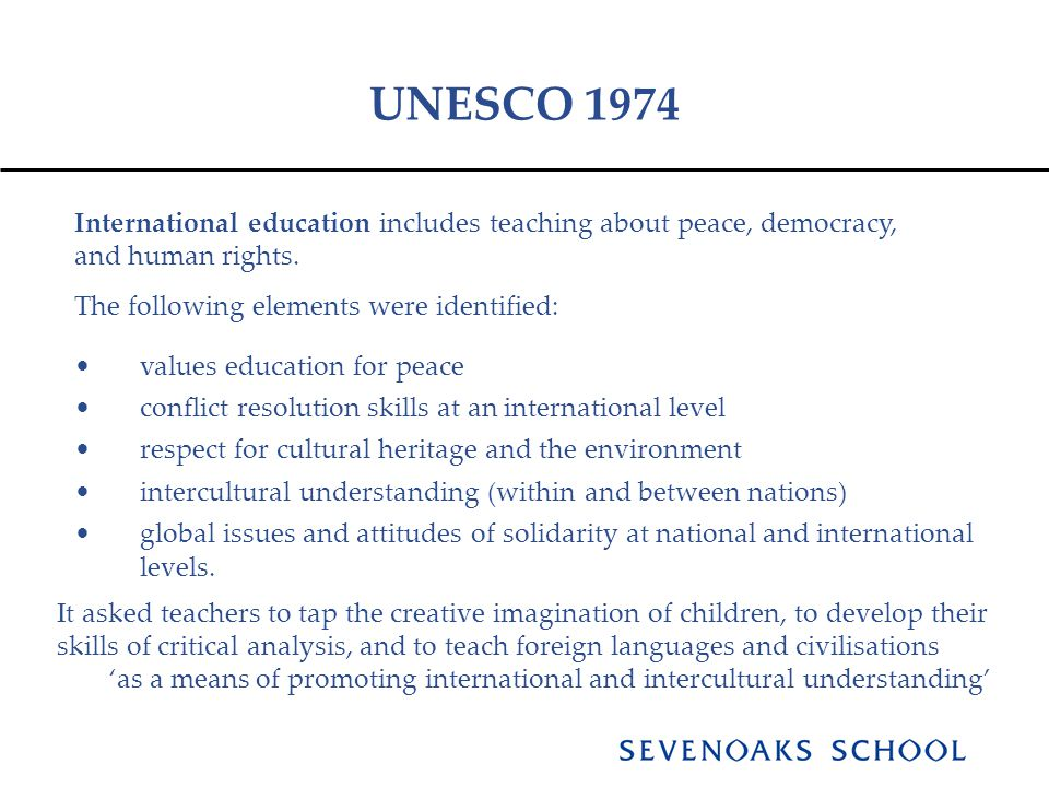 UNESCO 1974 International education includes teaching about peace, democracy, and human rights.