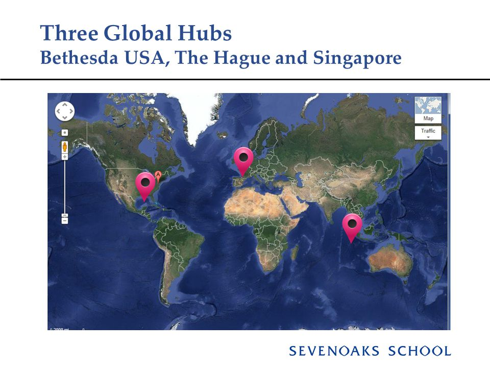 Three Global Hubs Bethesda USA, The Hague and Singapore