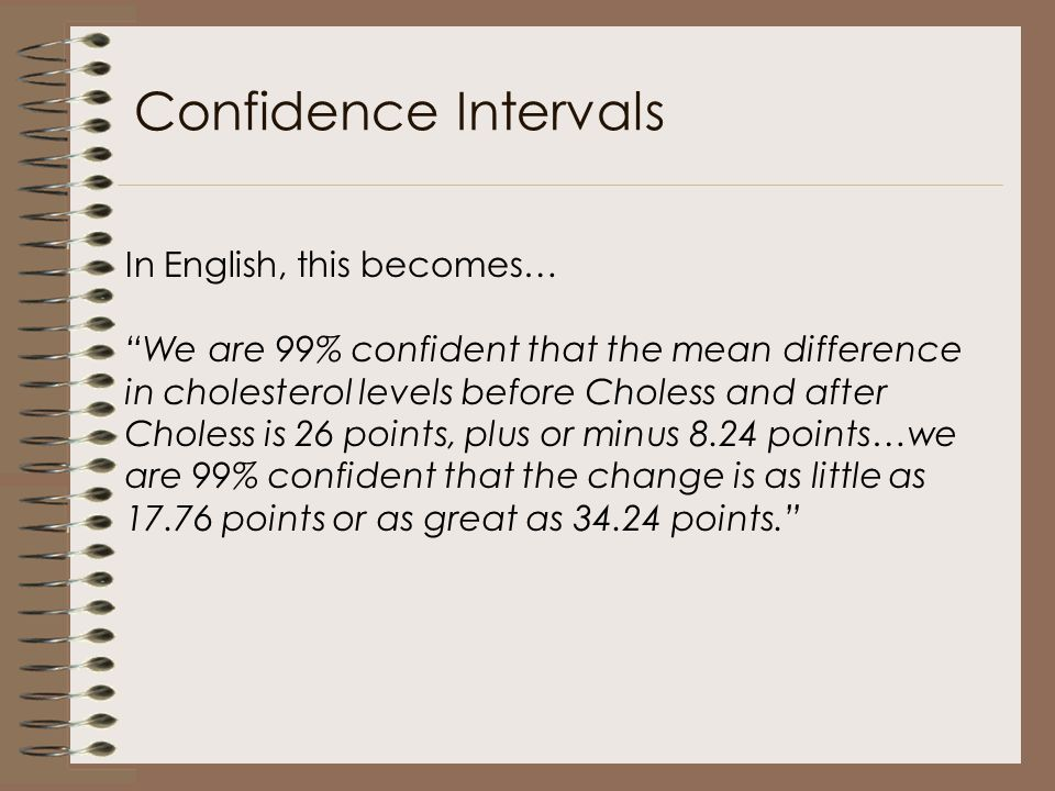 "In English, this becomes… ""We are 99% confident that the mean difference in cholesterol levels before Choless and after Choless is 26 points, plus or"