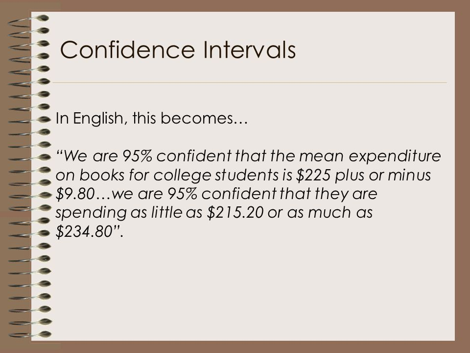 "In English, this becomes… ""We are 95% confident that the mean expenditure on books for college students is $225 plus or minus $9.80…we are 95% confide"