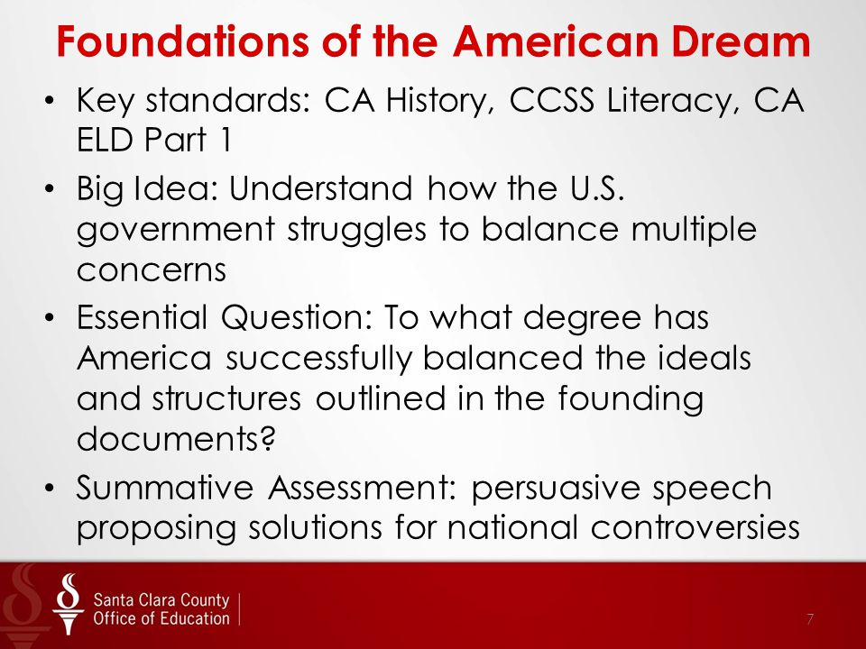 Foundations of the American Dream Key standards: CA History, CCSS Literacy, CA ELD Part 1 Big Idea: Understand how the U.S. government struggles to ba