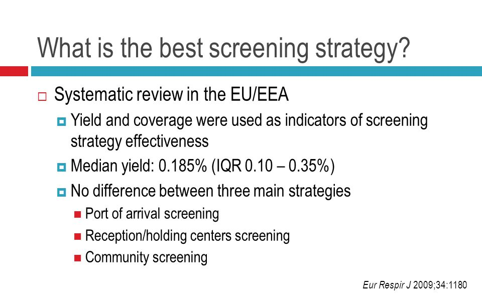 What is the best screening strategy.