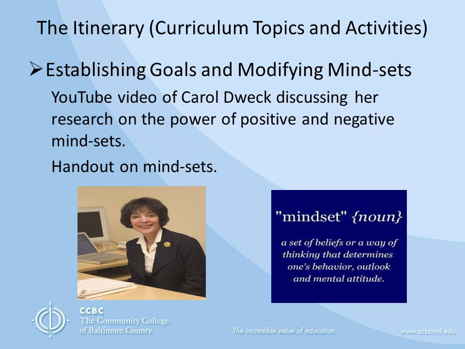 The Itinerary (Curriculum Topics and Activities)  Establishing Goals and Modifying Mind-sets YouTube video of Carol Dweck discussing her research on the power of positive and negative mind-sets.