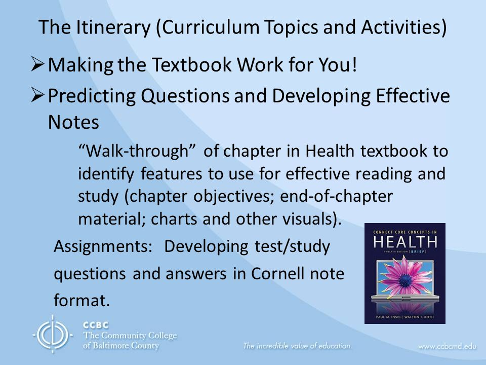 The Itinerary (Curriculum Topics and Activities)  Making the Textbook Work for You.