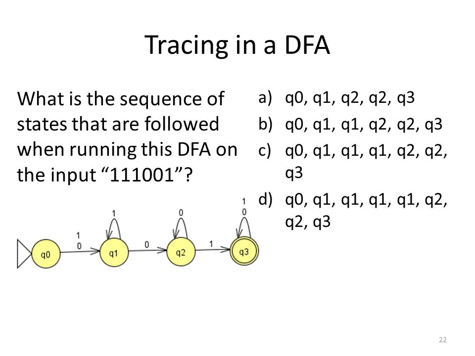 Tracing in a DFA a)q0, q1, q2, q2, q3 b)q0, q1, q1, q2, q2, q3 c)q0, q1, q1, q1, q2, q2, q3 d)q0, q1, q1, q1, q1, q2, q2, q3 What is the sequence of states that are followed when running this DFA on the input 111001 .