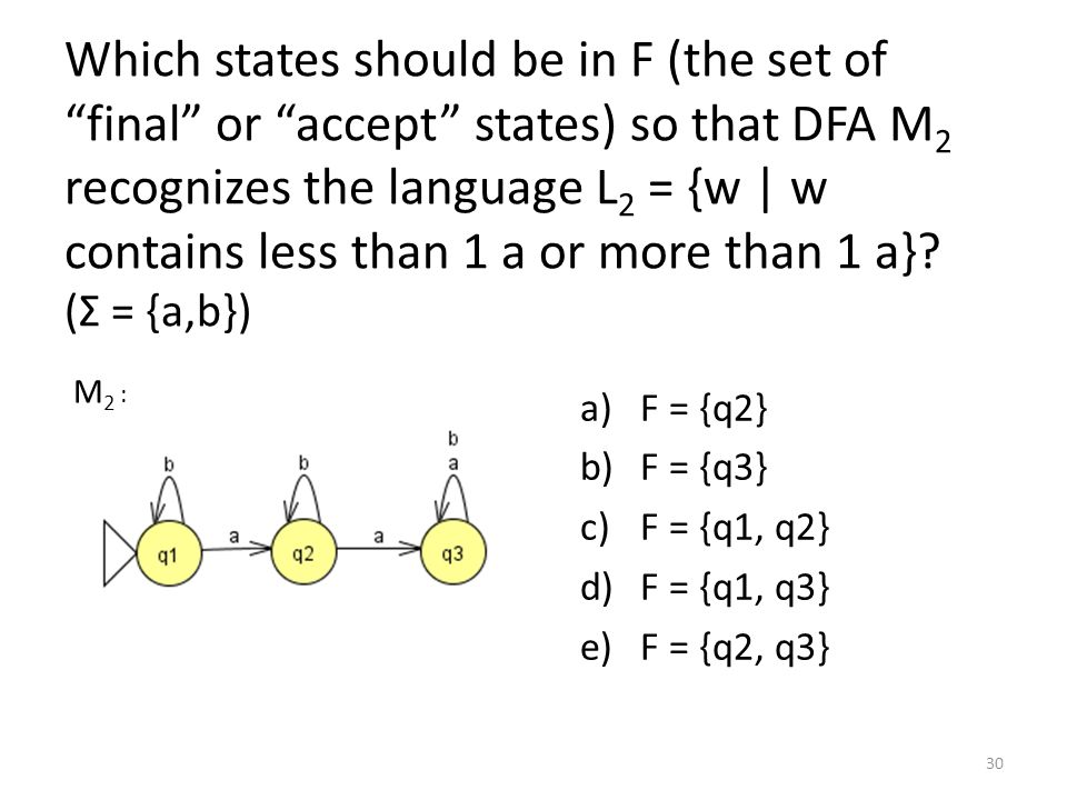 Which states should be in F (the set of final or accept states) so that DFA M 2 recognizes the language L 2 = {w | w contains less than 1 a or more than 1 a}.
