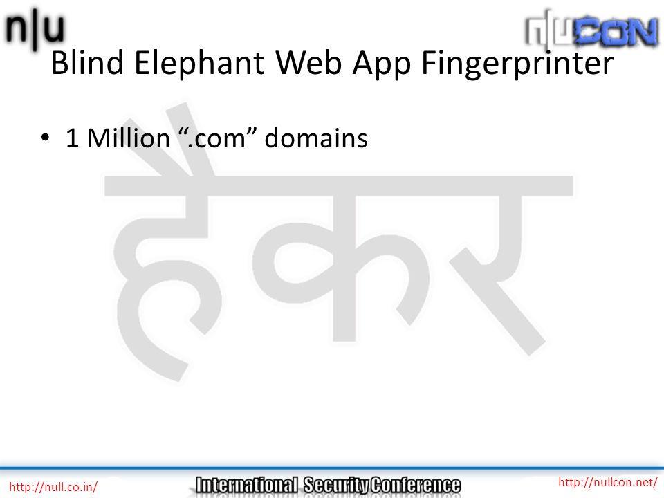 """Blind Elephant Web App Fingerprinter 1 Million """".com"""" domains http://null.co.in/ http://nullcon.net/"""