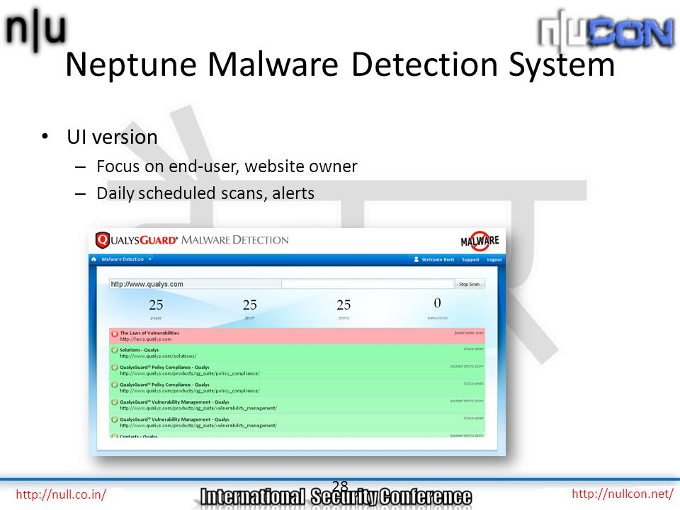 Neptune Malware Detection System UI version – Focus on end-user, website owner – Daily scheduled scans, alerts 28 http://null.co.in/ http://nullcon.ne