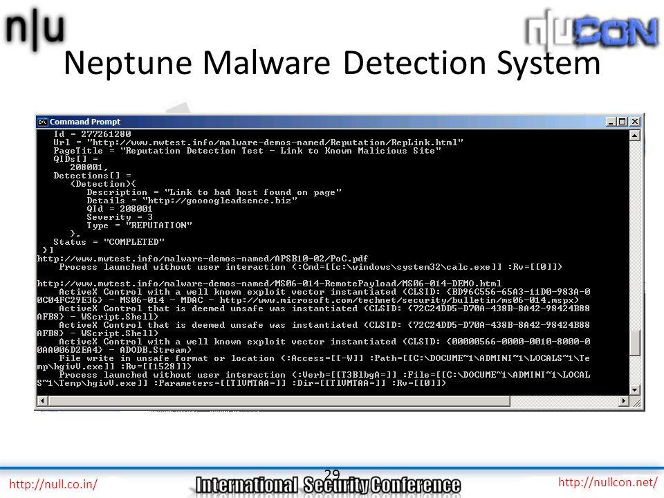Neptune Malware Detection System UI version – Focus on end-user, website owner – Daily scheduled scans, alerts API version – Focus on bulk user, integ