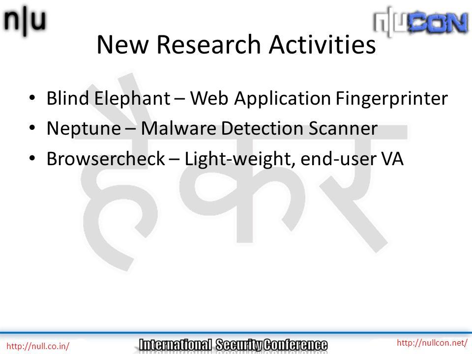 New Research Activities Blind Elephant – Web Application Fingerprinter Neptune – Malware Detection Scanner Browsercheck – Light-weight, end-user VA ht