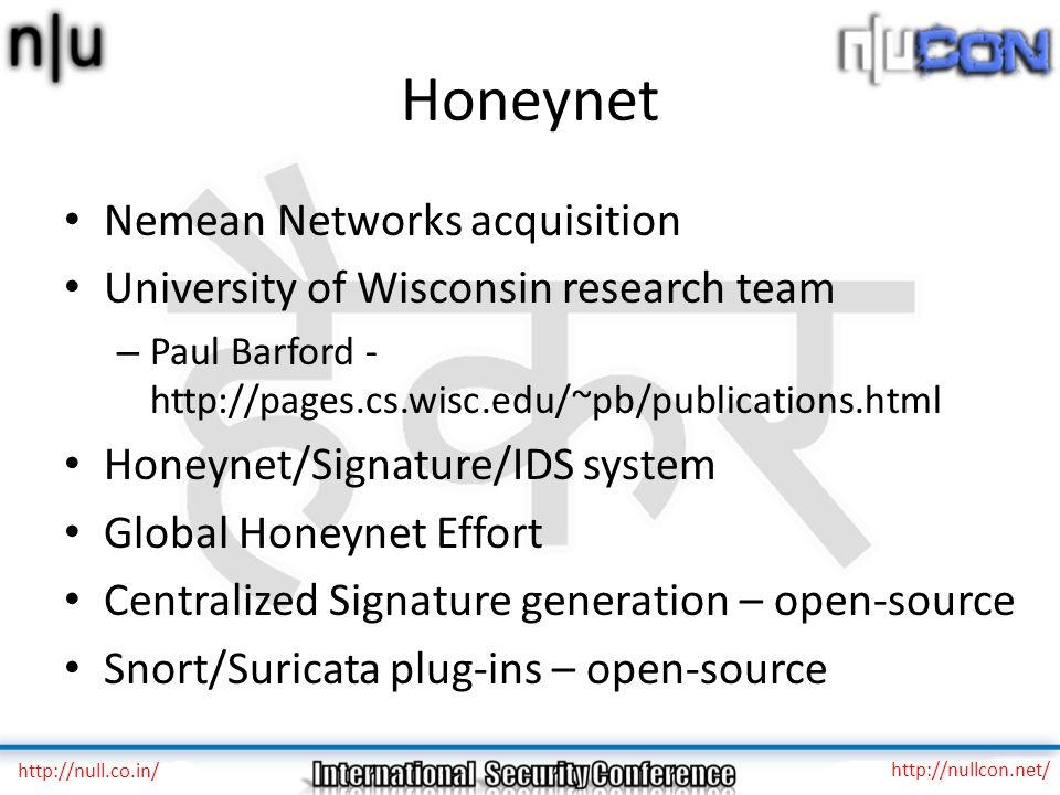 Honeynet Nemean Networks acquisition University of Wisconsin research team – Paul Barford - http://pages.cs.wisc.edu/~pb/publications.html Honeynet/Si