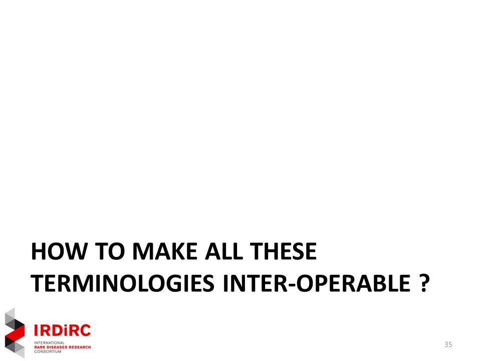 HOW TO MAKE ALL THESE TERMINOLOGIES INTER-OPERABLE 35
