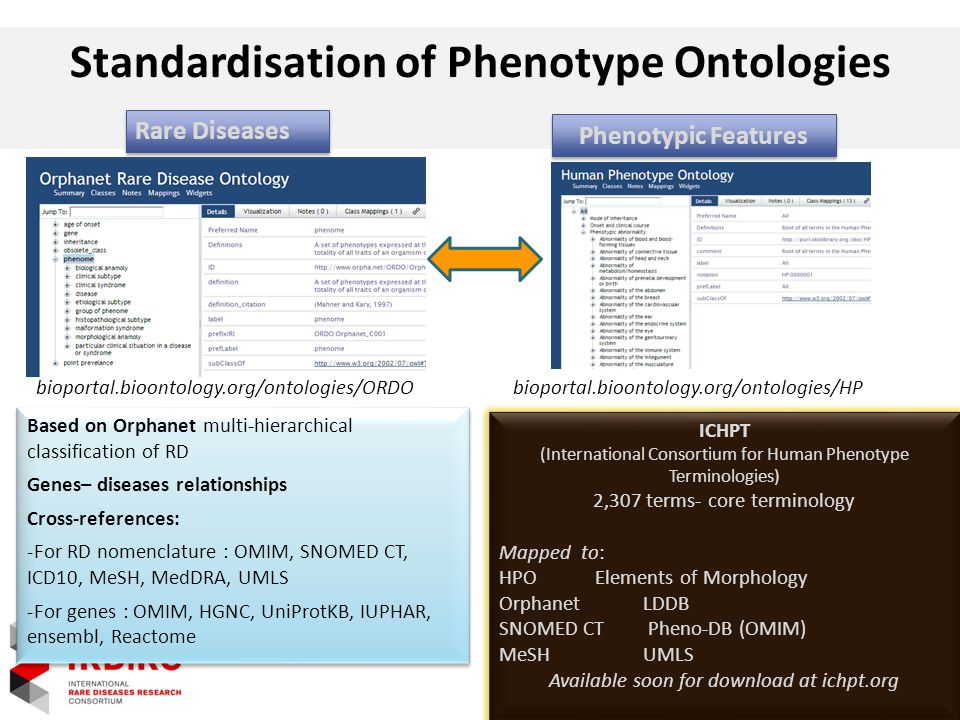 Standardisation of Phenotype Ontologies Rare Diseases bioportal.bioontology.org/ontologies/ORDO Phenotypic Features bioportal.bioontology.org/ontologies/HP Based on Orphanet multi-hierarchical classification of RD Genes– diseases relationships Cross-references: -For RD nomenclature : OMIM, SNOMED CT, ICD10, MeSH, MedDRA, UMLS -For genes : OMIM, HGNC, UniProtKB, IUPHAR, ensembl, Reactome Based on Orphanet multi-hierarchical classification of RD Genes– diseases relationships Cross-references: -For RD nomenclature : OMIM, SNOMED CT, ICD10, MeSH, MedDRA, UMLS -For genes : OMIM, HGNC, UniProtKB, IUPHAR, ensembl, Reactome ICHPT (International Consortium for Human Phenotype Terminologies) 2,307 terms- core terminology Mapped to: HPOElements of Morphology OrphanetLDDB SNOMED CT Pheno-DB (OMIM) MeSHUMLS Available soon for download at ichpt.org ICHPT (International Consortium for Human Phenotype Terminologies) 2,307 terms- core terminology Mapped to: HPOElements of Morphology OrphanetLDDB SNOMED CT Pheno-DB (OMIM) MeSHUMLS Available soon for download at ichpt.org