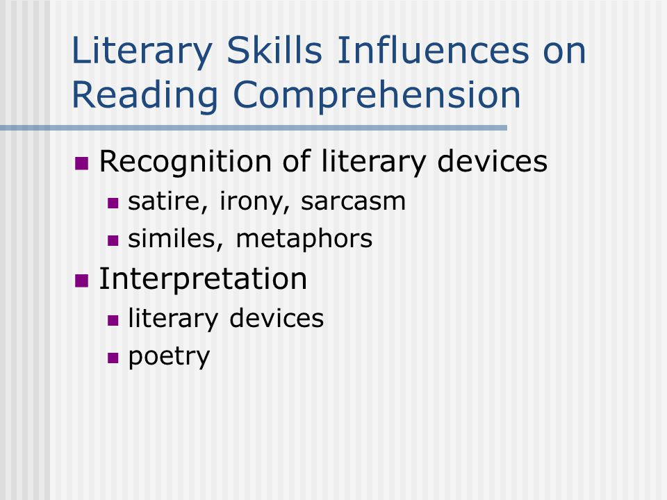 Memory Influences on Reading Comprehension Immediate or long term recall/retell Recognition of main ideas or details