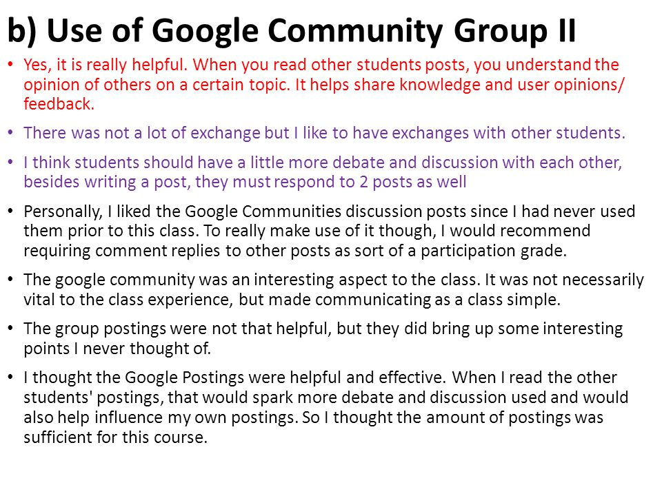 b) Use of Google Community Group II Yes, it is really helpful. When you read other students posts, you understand the opinion of others on a certain t