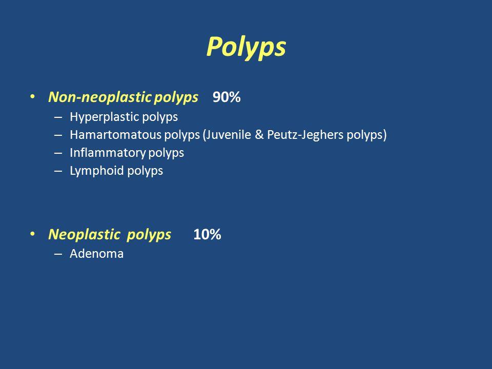 Polyps Non-neoplastic polyps 90% – Hyperplastic polyps – Hamartomatous polyps (Juvenile & Peutz-Jeghers polyps) – Inflammatory polyps – Lymphoid polyps Neoplastic polyps 10% – Adenoma