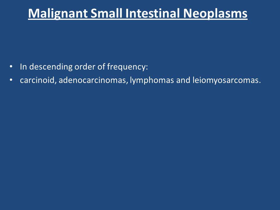 Malignant Small Intestinal Neoplasms In descending order of frequency: carcinoid, adenocarcinomas, lymphomas and leiomyosarcomas.