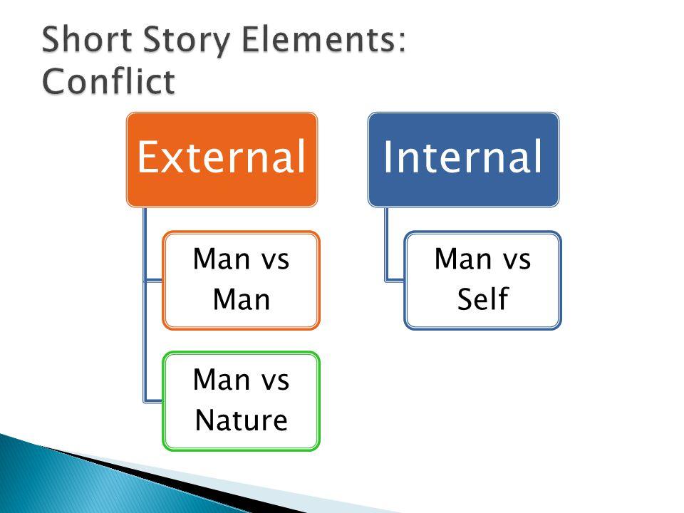 External Man vs Man Man vs Nature Internal Man vs Self