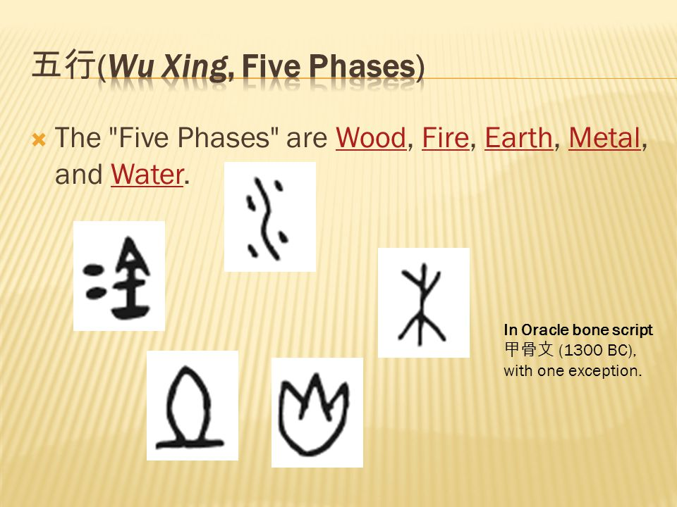  The Five Phases are Wood, Fire, Earth, Metal, and Water.WoodFireEarthMetalWater In Oracle bone script 甲骨文 (1300 BC), with one exception.