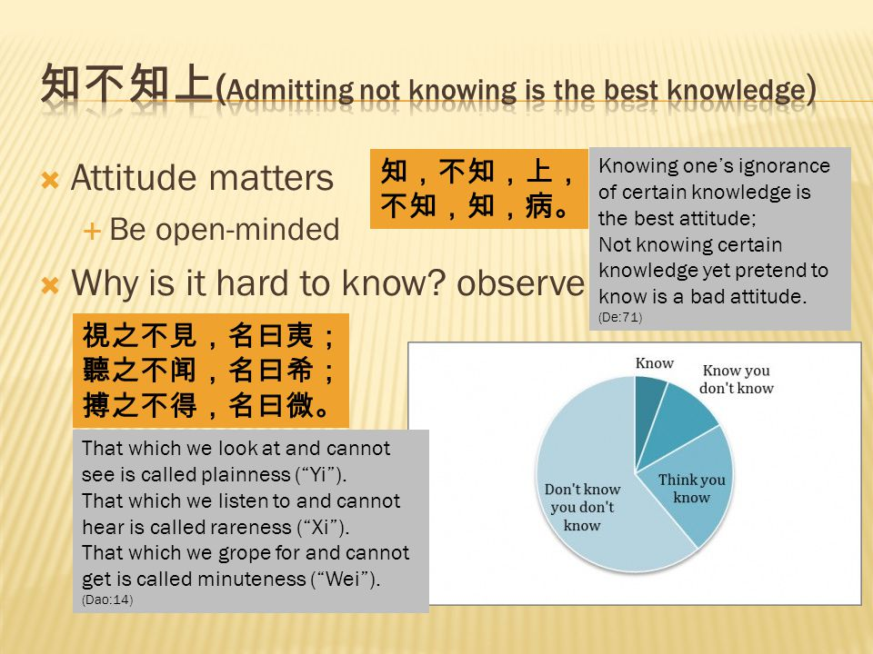  Attitude matters  Be open-minded  Why is it hard to know.