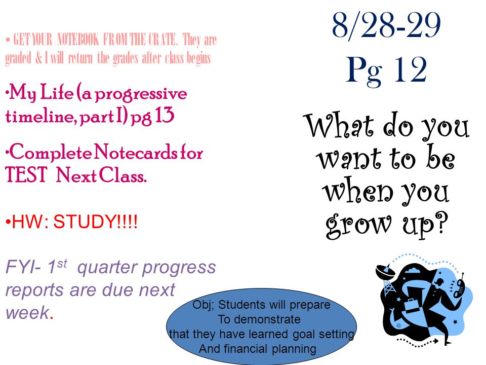 8/28-29 Pg 12 What do you want to be when you grow up.
