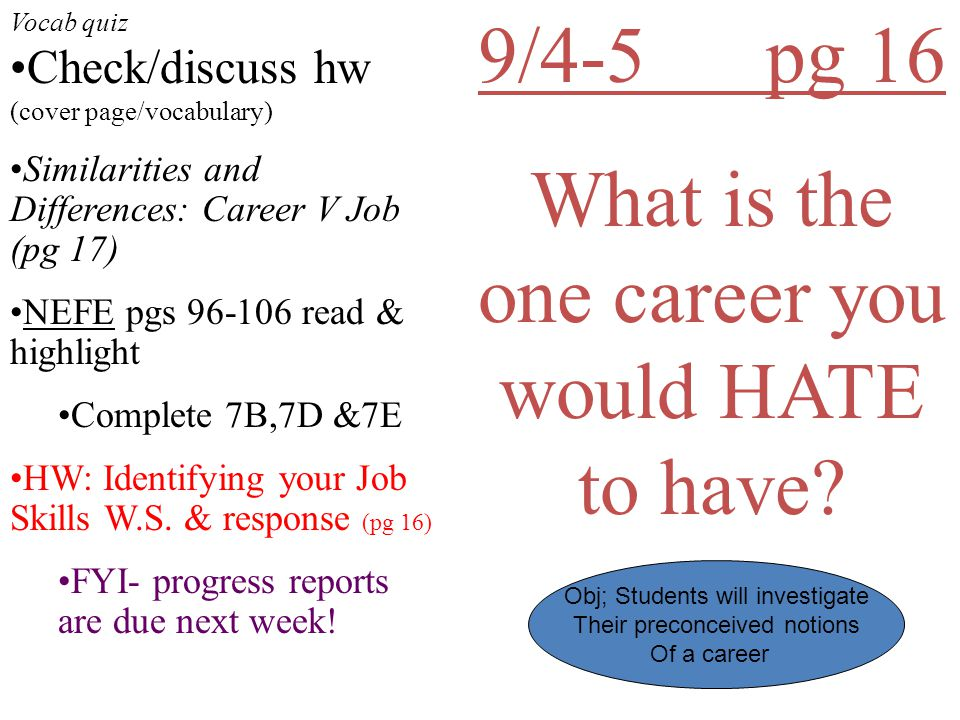 9/4-5 pg 16 What is the one career you would HATE to have.