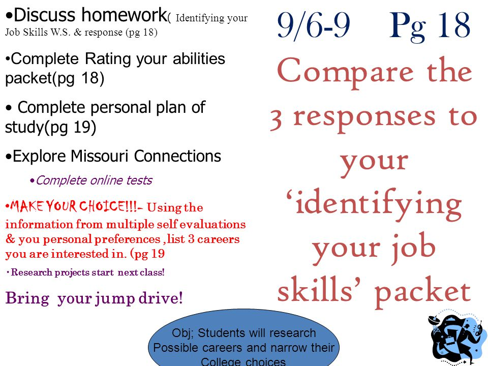 9/6-9 Pg 18 Compare the 3 responses to your 'identifying your job skills' packet Obj; Students will research Possible careers and narrow their College choices Discuss homework ( Identifying your Job Skills W.S.