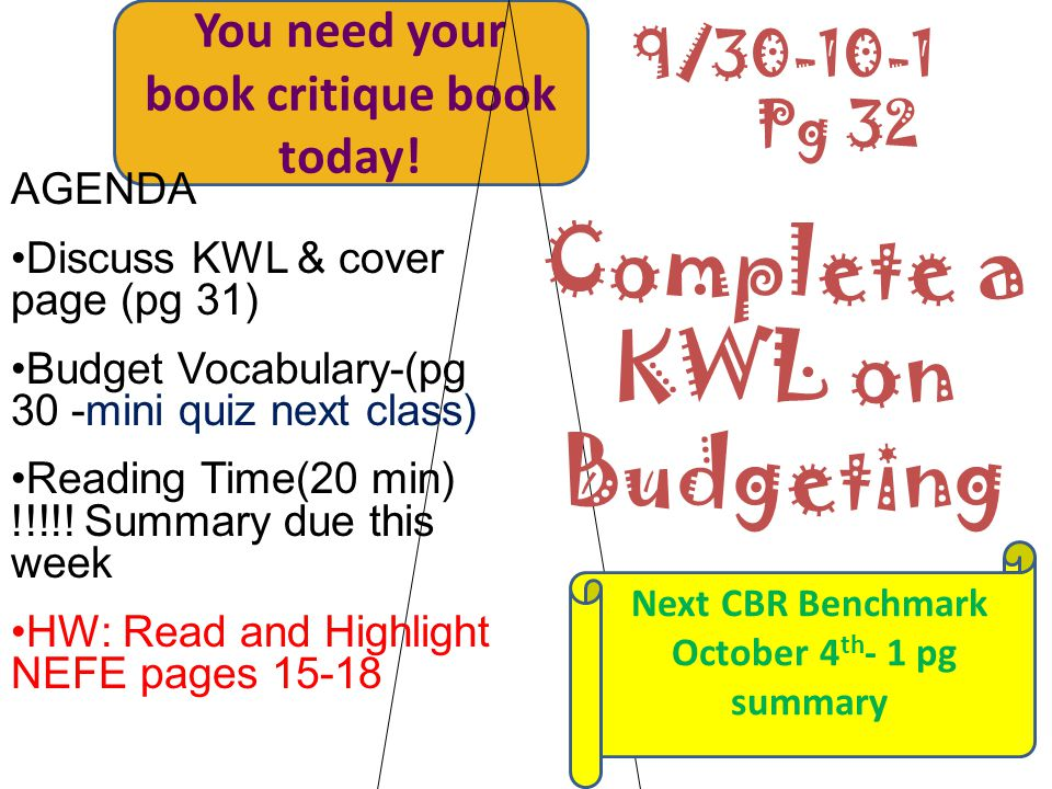 You need your book critique book today! AGENDA Discuss KWL & cover page (pg 31) Budget Vocabulary-(pg 30 -mini quiz next class) Reading Time(20 min) !