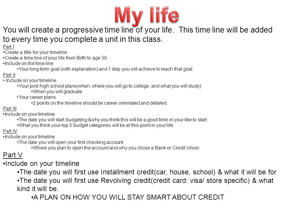 You will create a progressive time line of your life. This time line will be added to every time you complete a unit in this class. Part I Create a ti