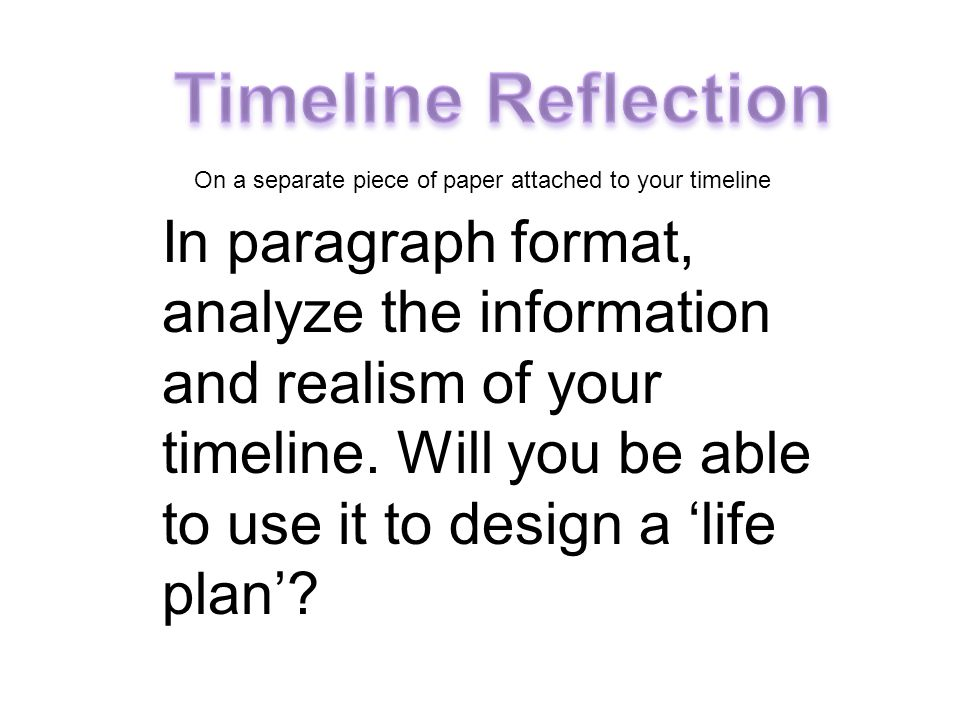 In paragraph format, analyze the information and realism of your timeline. Will you be able to use it to design a 'life plan'? On a separate piece of