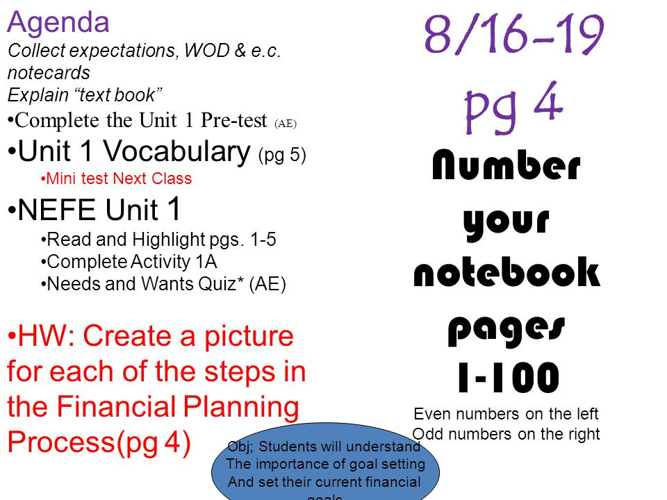 Obj; Students will understand The importance of goal setting And set their current financial goals 8/16-19 pg 4 Agenda Collect expectations, WOD & e.c.