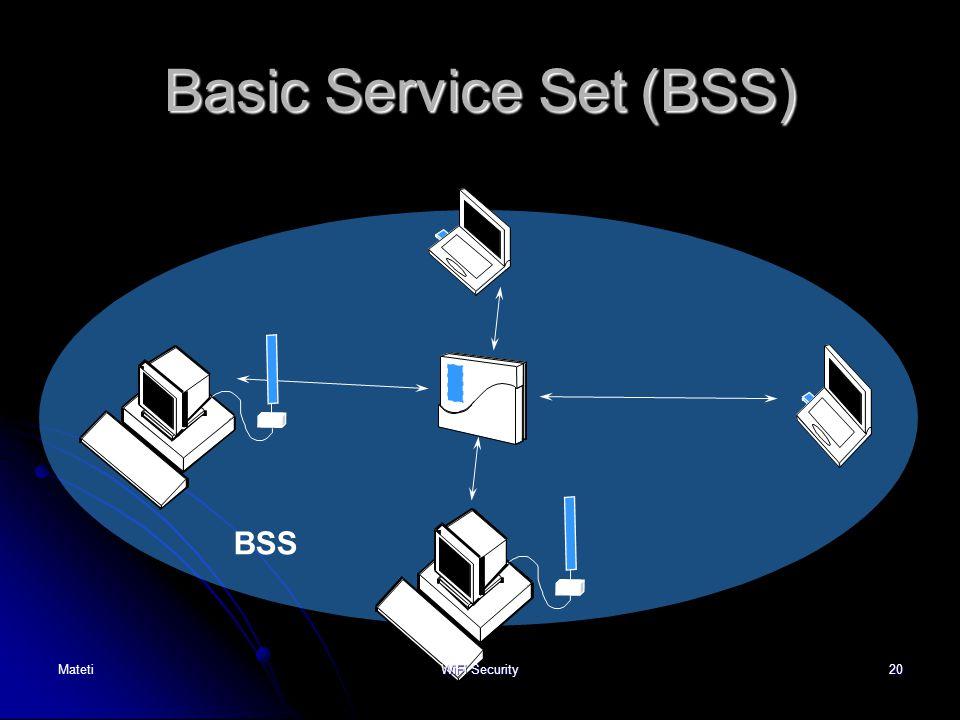20 Basic Service Set (BSS) BSS MatetiWiFi Security
