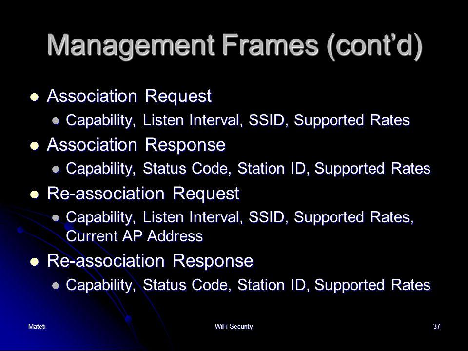 37 Management Frames (cont'd) Association Request Association Request Capability, Listen Interval, SSID, Supported Rates Capability, Listen Interval,