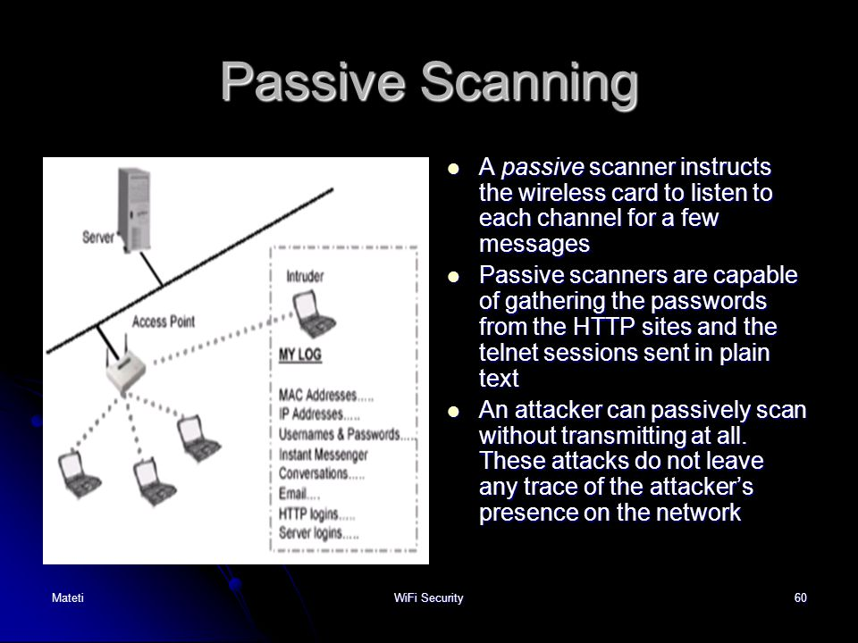 60 Passive Scanning A passive scanner instructs the wireless card to listen to each channel for a few messages A passive scanner instructs the wireles
