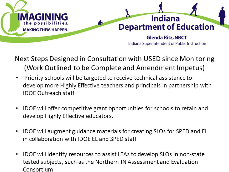 Next Steps Designed in Consultation with USED since Monitoring (Work Outlined to be Complete and Amendment Impetus) Priority schools will be targeted to receive technical assistance to develop more Highly Effective teachers and principals in partnership with IDOE Outreach staff IDOE will offer competitive grant opportunities for schools to retain and develop Highly Effective educators.