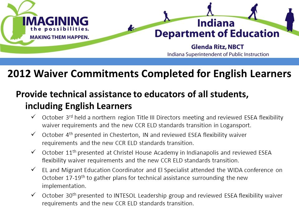 2012 Waiver Commitments Completed for English Learners Provide technical assistance to educators of all students, including English Learners October 3 rd held a northern region Title III Directors meeting and reviewed ESEA flexibility waiver requirements and the new CCR ELD standards transition in Logansport.