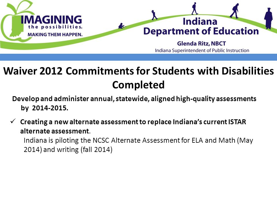 Waiver 2012 Commitments for Students with Disabilities Completed Develop and administer annual, statewide, aligned high-quality assessments by 2014-2015.