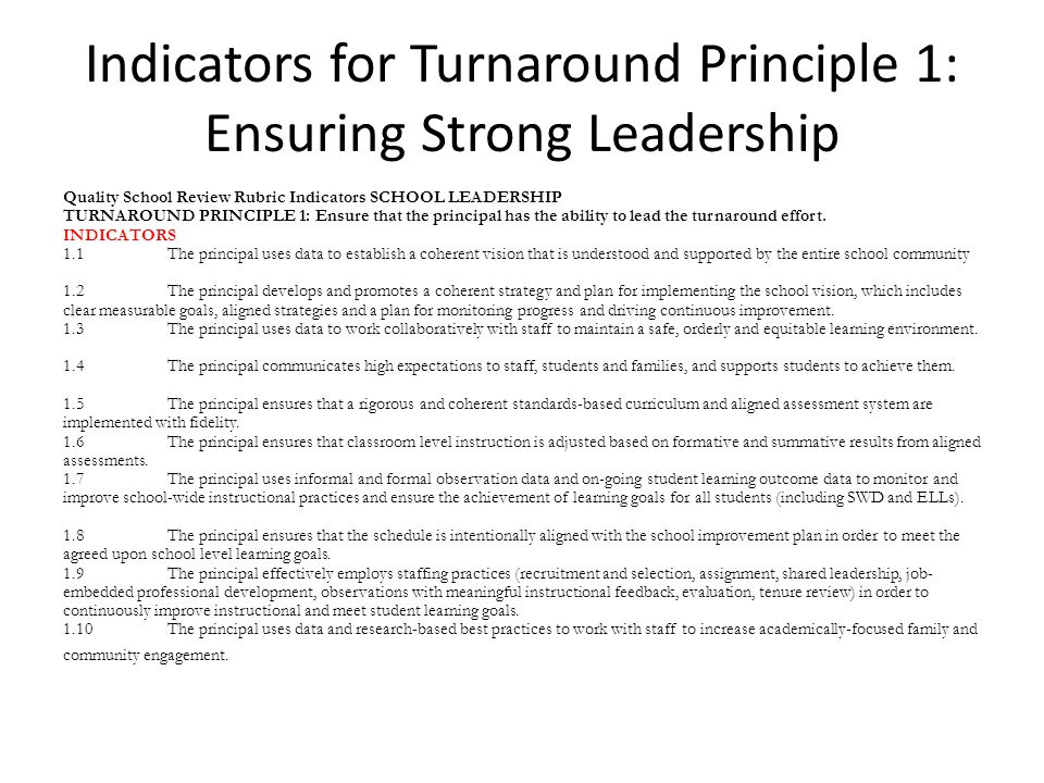 Indicators for Turnaround Principle 1: Ensuring Strong Leadership Quality School Review Rubric Indicators SCHOOL LEADERSHIP TURNAROUND PRINCIPLE 1: Ensure that the principal has the ability to lead the turnaround effort.
