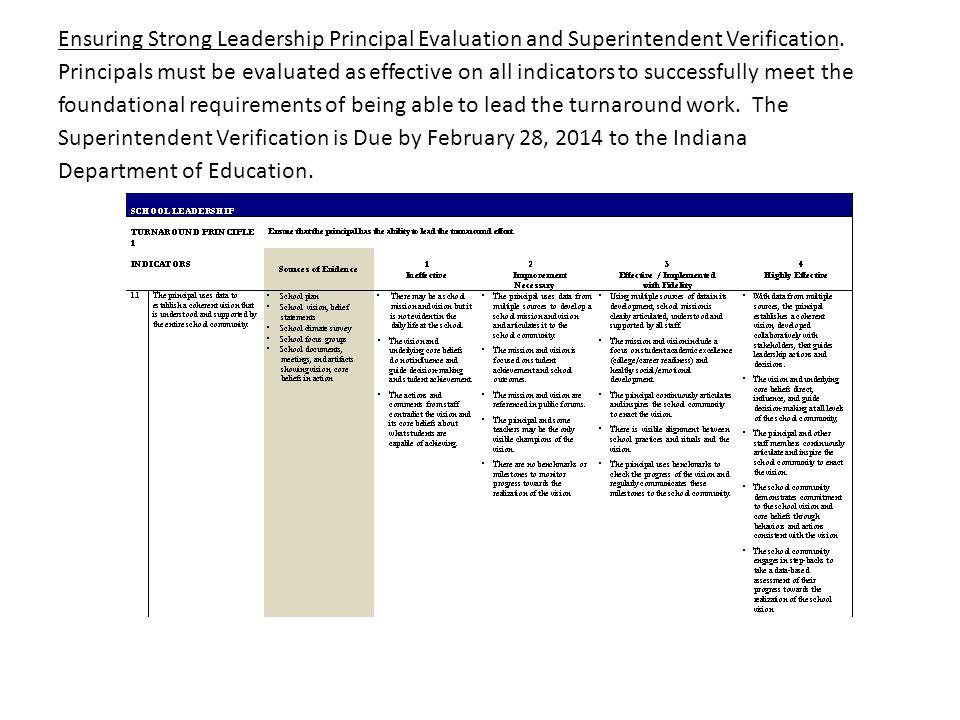 Ensuring Strong Leadership Principal Evaluation and Superintendent Verification.
