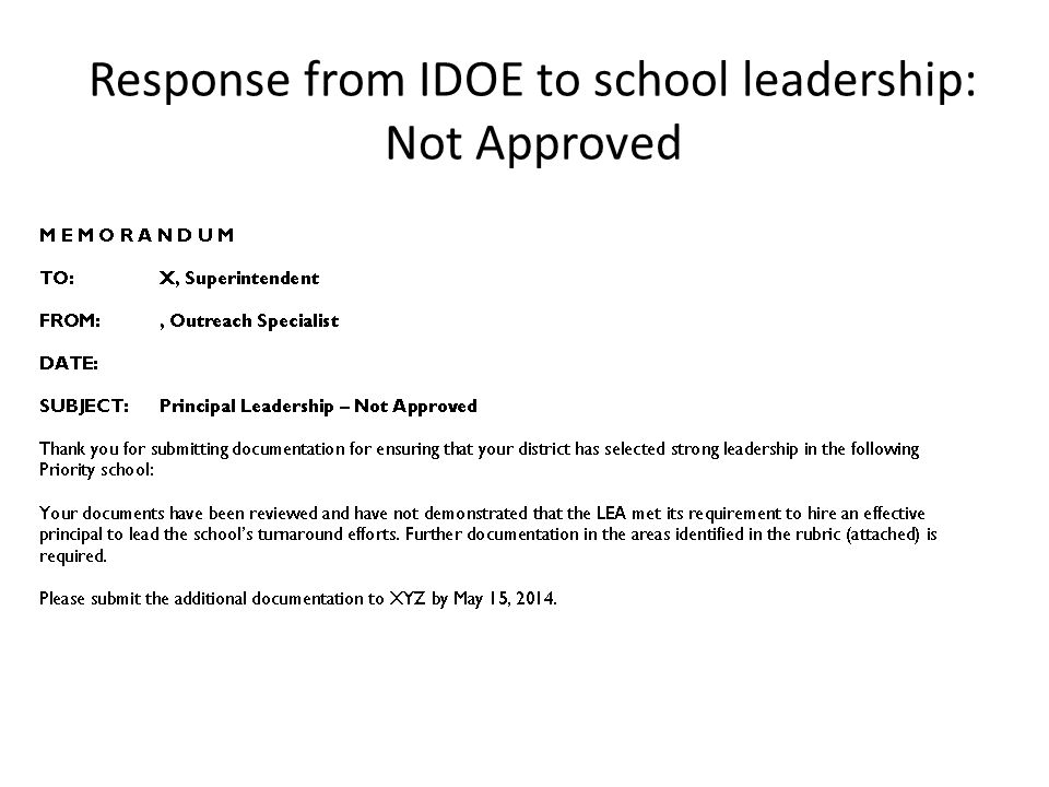 Response from IDOE to school leadership: Not Approved