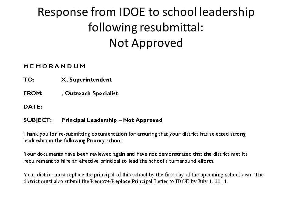 Response from IDOE to school leadership following resubmittal: Not Approved