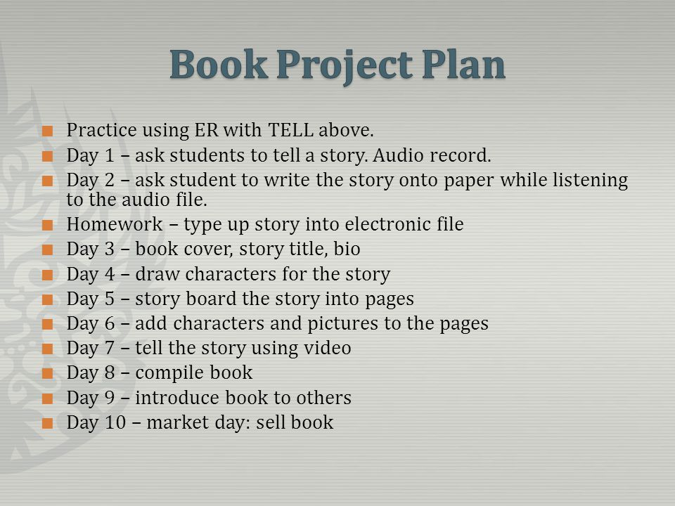 Practice using ER with TELL above. Day 1 – ask students to tell a story.