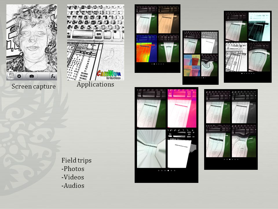 Screen capture Applications Field trips -Photos -Videos -Audios