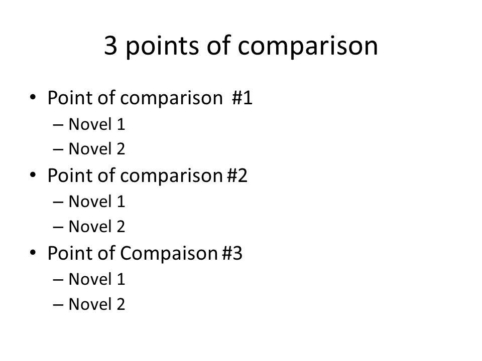 3 points of comparison Point of comparison #1 – Novel 1 – Novel 2 Point of comparison #2 – Novel 1 – Novel 2 Point of Compaison #3 – Novel 1 – Novel 2