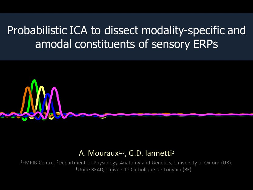 Auditory-specific activity explained 32% of the auditory ERP waveform Somatosensory-specific activity explained - 34% of the non-nociceptive somatosensory ERP waveform - 25% of the nociceptive somatosensory ERP waveform Somatosensory-specific activity explained - 34% of the non-nociceptive somatosensory ERP waveform - 25% of the nociceptive somatosensory ERP waveform Visual-specific activity explained 36% of the visual ERP waveform