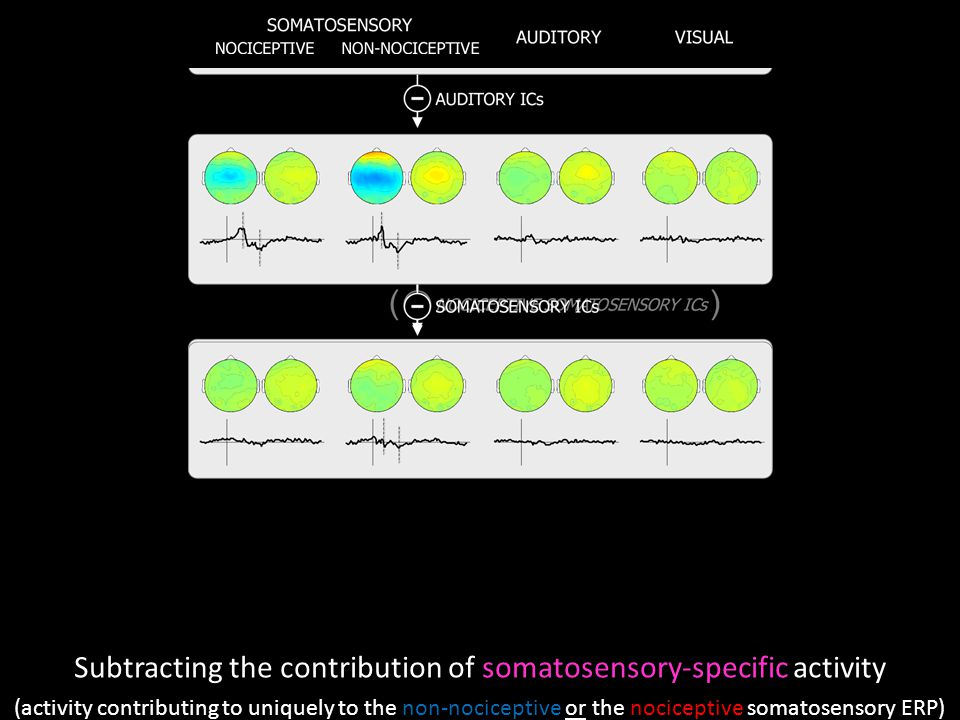 Subtracting the contribution of somatosensory-specific activity (activity contributing to uniquely to the non-nociceptive or the nociceptive somatosensory ERP)
