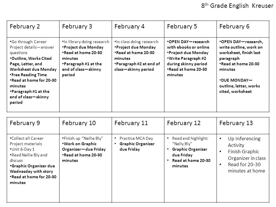 February 2February 3February 4February 5February 6 Go through Career Project details—answer questions Outline, Works Cited Page, Letter, and Worksheet due Monday Free Reading Time Read at home for 20-30 minutes Paragraph #1 at the end of class—skinny period In library doing research Project due Monday Read at home 20-30 minutes Paragraph #1 at the end of class—skinny period In class doing research Project due Monday Read at home 20-30 minutes Paragraph #2 at end of class—skinny period OPEN DAY—research with ebooks or online Project due Monday Write Paragraph #2 during skinny period Read at home 20-30 minutes OPEN DAY—research, write outline, work on worksheet, finish last paragraph Read at home 20-30 minutes DUE MONDAY— outline, letter, works cited, worksheet February 9February 10February 11February 12February 13 Collect all Career Project materials Unit 6-Day 1 Read Nellie Bly and discuss Graphic Organizer due Wednesday with story Read at home for 20-30 minutes Finish up Nellie Bly Work on Graphic Organizer—due Friday Read at home 20-30 minutes Practice MCA Day Graphic Organizer due Friday Read and highlight: Nelly Bly Graphic Organizer due Friday Read at home 20-30 minutes Up Inferencing Activity Finish Graphic Organizer in class Read for 20-30 minutes at home 8 th Grade English Kreuser