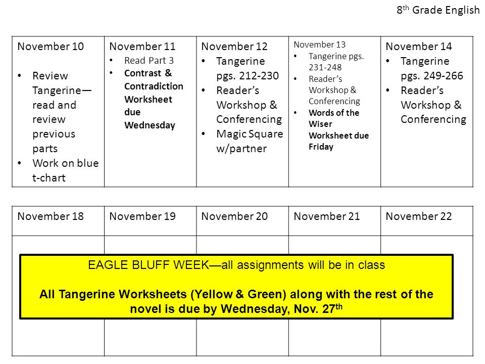 November 10 Review Tangerine— read and review previous parts Work on blue t-chart November 11 Read Part 3 Contrast & Contradiction Worksheet due Wednesday November 12 Tangerine pgs.