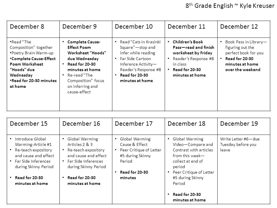 """December 8December 9December 10December 11December 12 Read """"The Composition"""" together Poetry Brain Warm-up Complete Cause-Effect Poem Worksheet """"Hoods"""