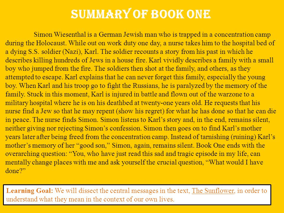 Summary of Book One Simon Wiesenthal is a German Jewish man who is trapped in a concentration camp during the Holocaust.